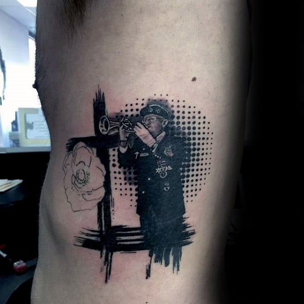 Solider Blowing Horn Guys Abstract Memorial Ribs Tattoo