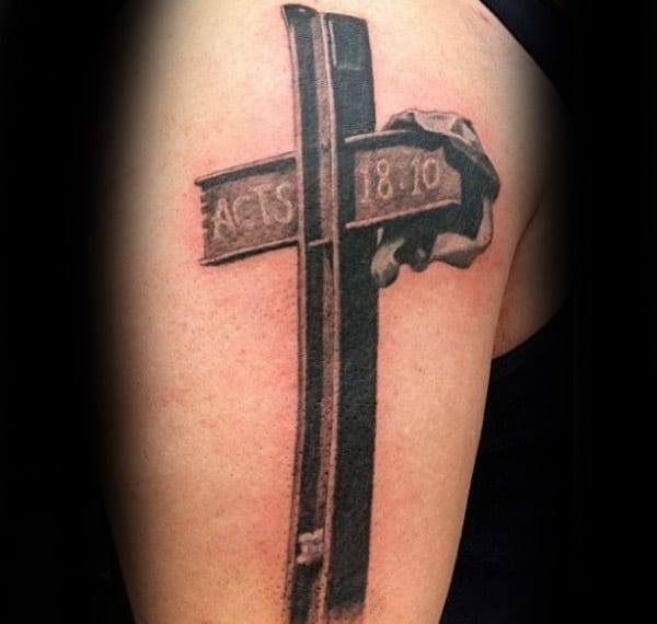 Steel Beam With Religious Scripture Male Memorial Tattoo