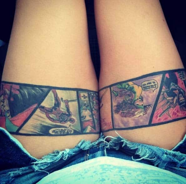 Comic Book Reel Tattoo on Thigh