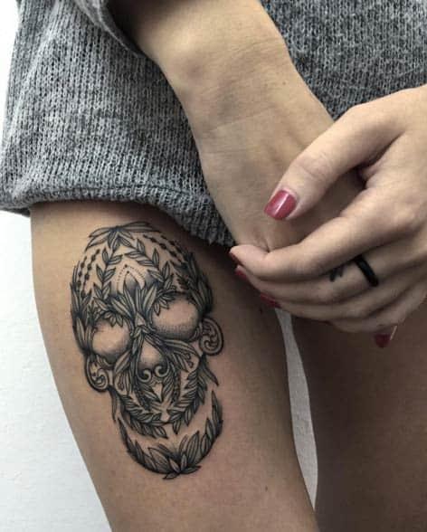 Creative Blackwork Skull by Sasha Masiuk