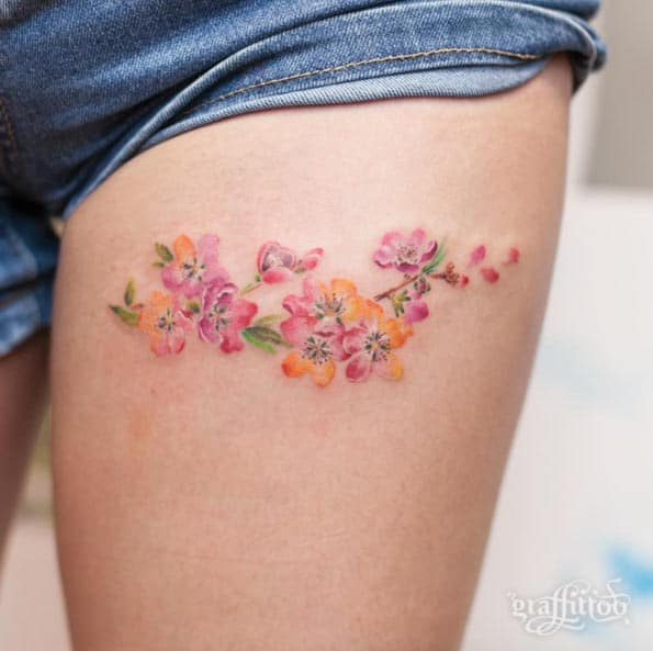Cherry Blossoms on Thigh by River