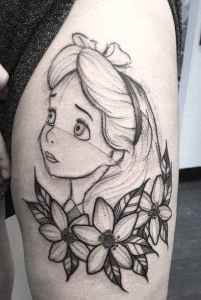 Sketch style Alice in Wonderland Tat by Poppy
