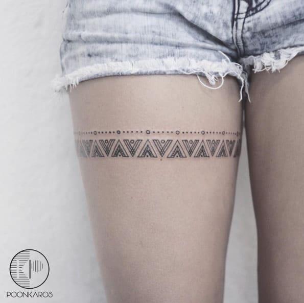 Mayan Pattern Thigh Band by Karry Ka-Ying Poon