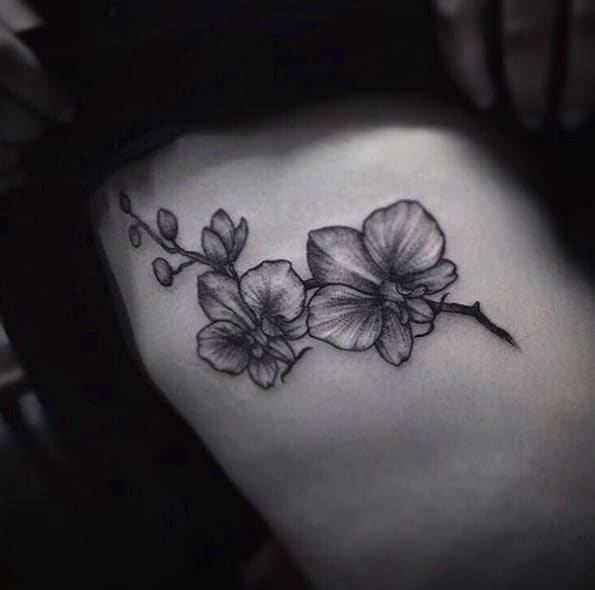 Black and Gray Ink Flowers by Lorraine Longhi