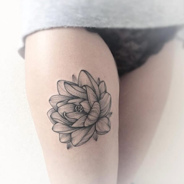 Dotwork Lotus Flower by Anna Bravo