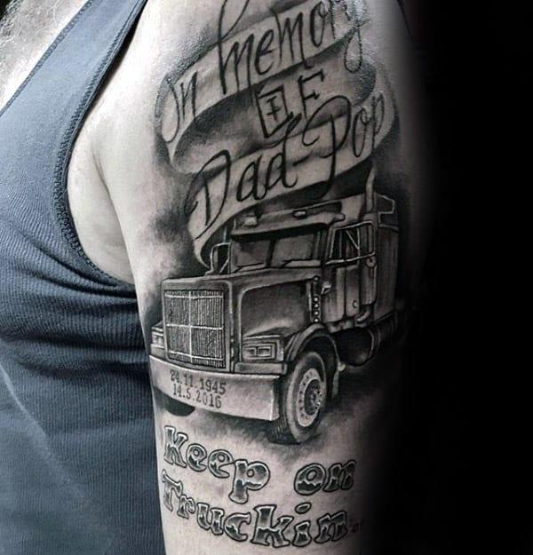 Trucker Dad Memorial Guys Upper Arm Tattoo