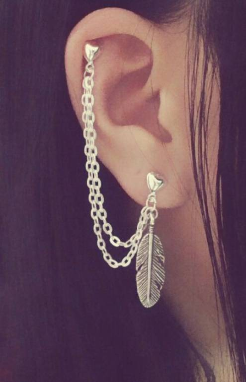 Feather Cartilage Chain Earrings Piercing