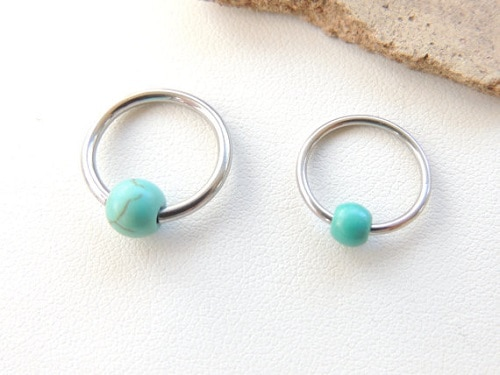 Steel Turquoise Beaded Cartilage Helix Earring