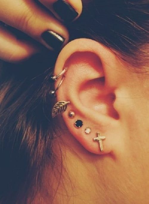Double Gold Helix Ring for ears