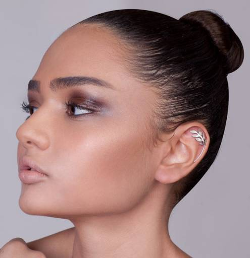 Silver Leaves Cartilage Stud Earring - ear cuff , silver ear piercing , cartilage earring , woodland earring , leaves earring