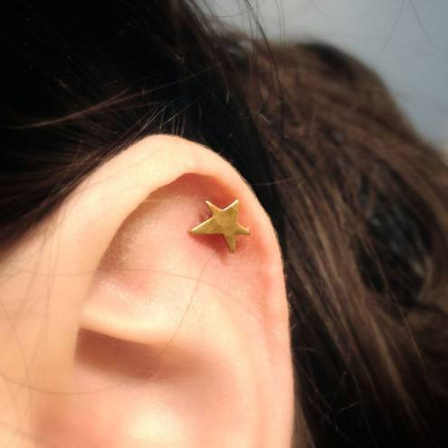 Stars and Sparks Brass and Surgical Steel Stud Earring. Perfect for Helix and Cartilage Piercings.