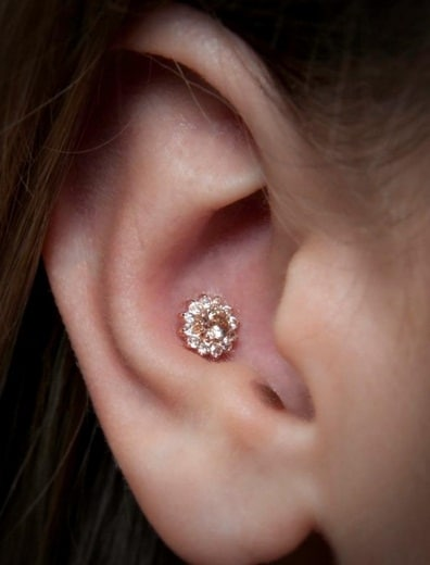 Diamond Flower Conch Piercing