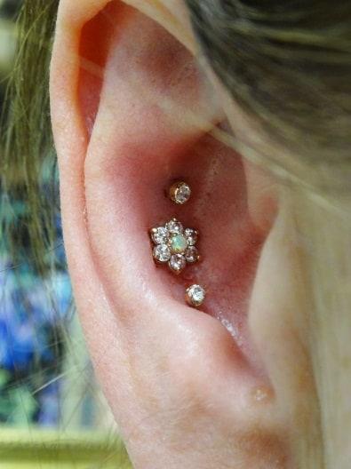 Diamond Triple Conch Piercing
