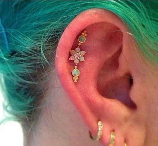 Gem Outer Conch Piercing