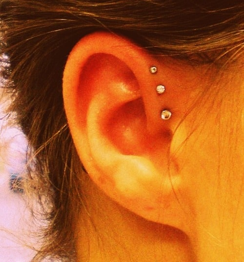 Triple Helix Ear Piercings