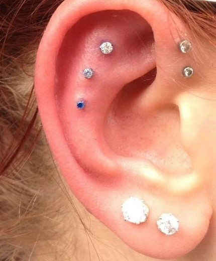 Triple Outer Conch Piercing