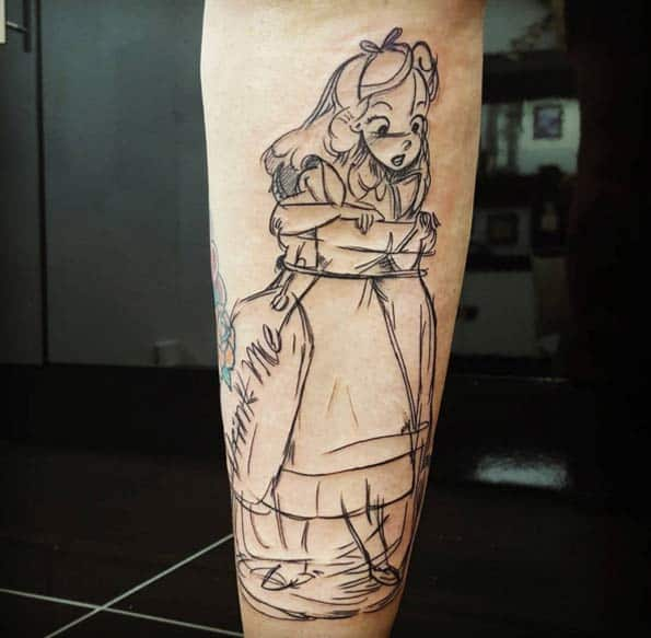Alice in Wonderland Sketch Style Tat by Terry