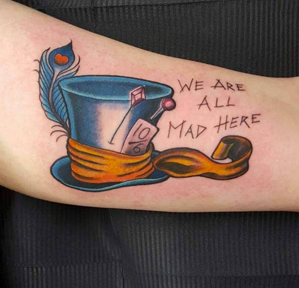 We're All Mad Here Tattoo by Iain Strannigan
