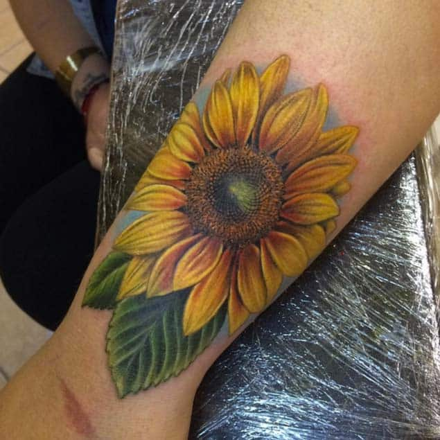 Sunflower Tattoo on Wrist by Danny Mateo