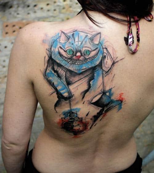 Cheshire Cat Tattoo by Kamil Mokot