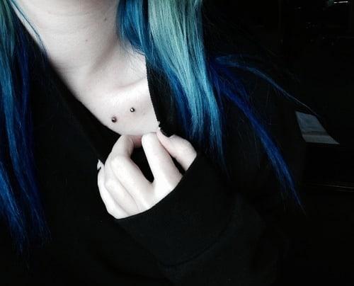 Girl Showing Her Collar Bone Piercing
