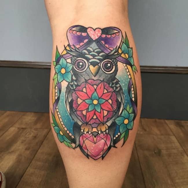 owl calf tattoo