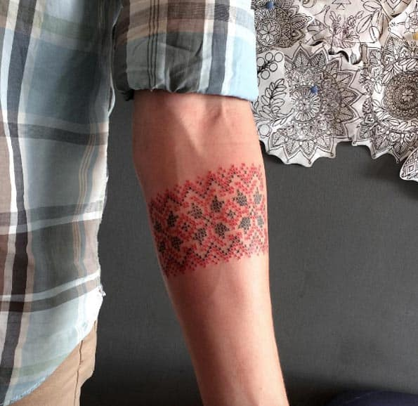 Cross-Stitch Armband Tattoo by Taras Shtanko