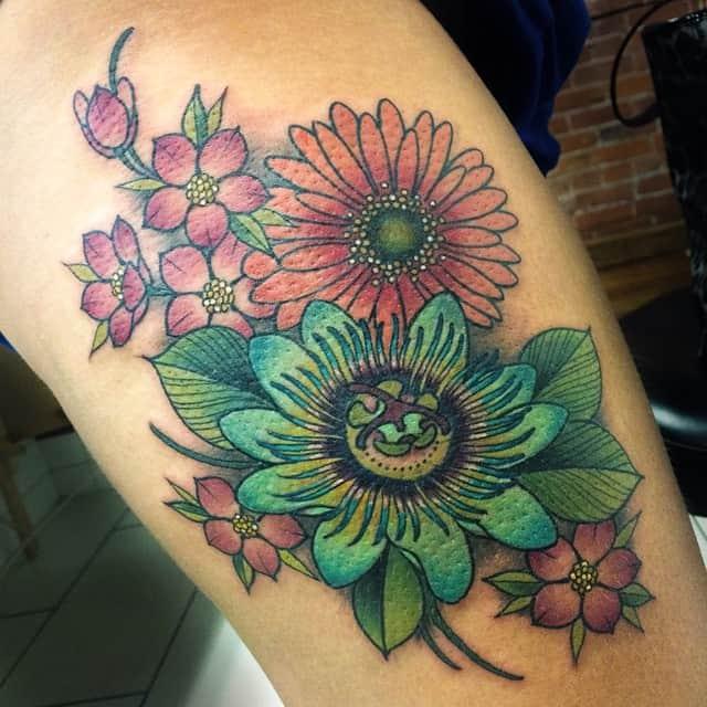 daisy leg tattoo