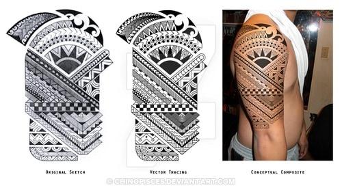 Detailed Polynesian Inspiration Tattoo