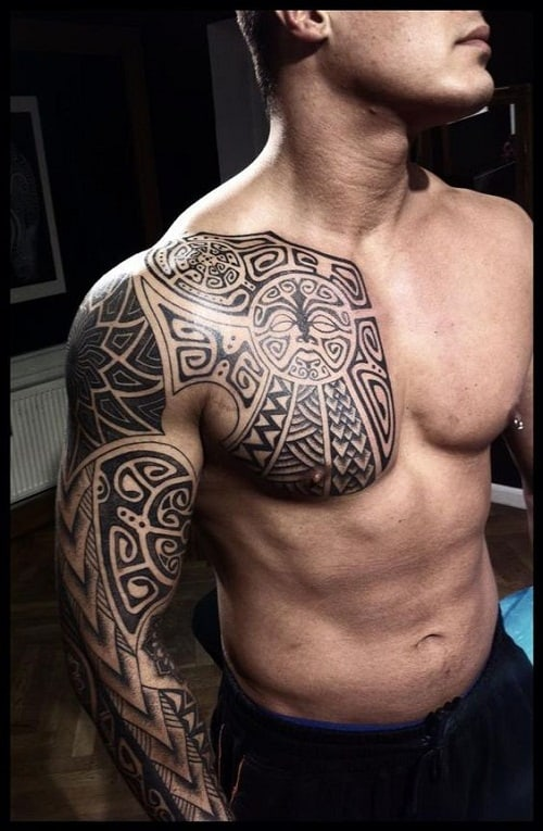 Enata Tiki Spear Head And Ocean Polynesian Tattoo