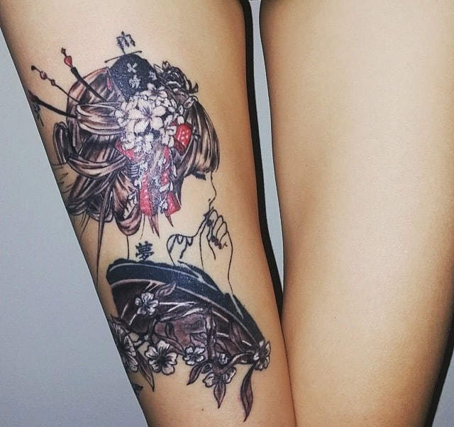 arm tattoo of geisha