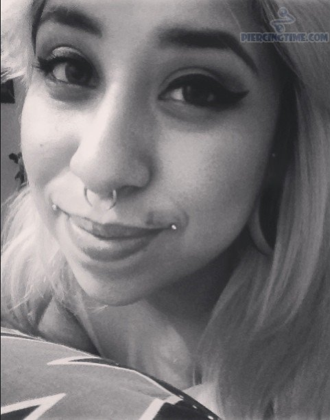 Girl With Dahlia Bites Piercing And Septum Piercing