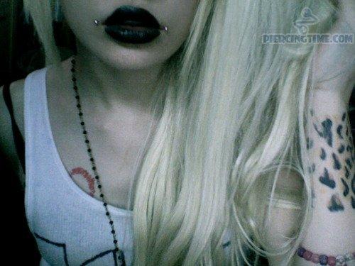 Girl With Lip Dahlia Bites Piercing