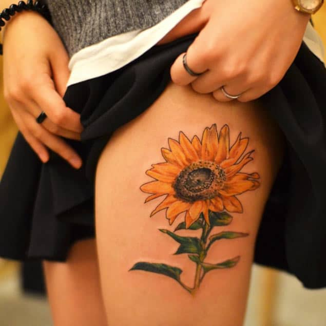 Large Sunflower Tattoo Design by Grain
