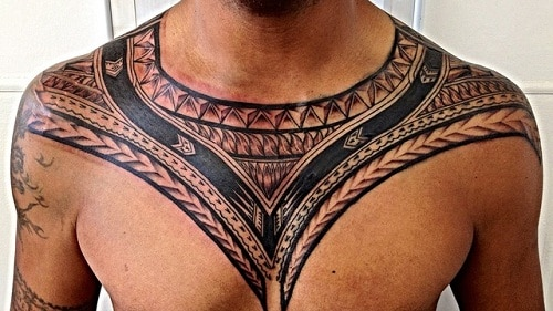 polynesian tattoo on chest