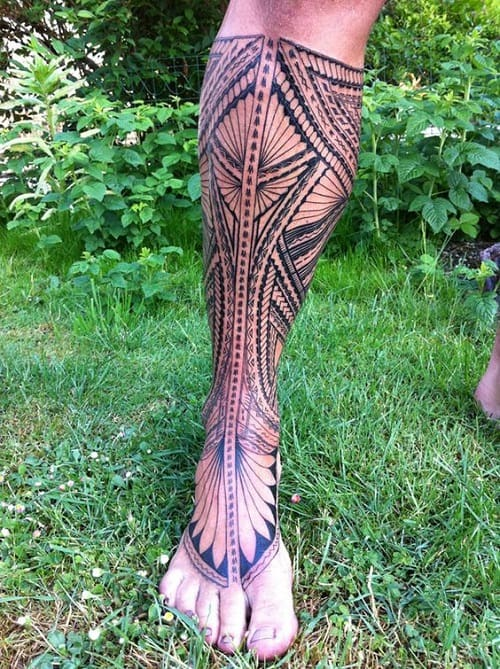 Spear Head Polynesian Tattoo On Leg