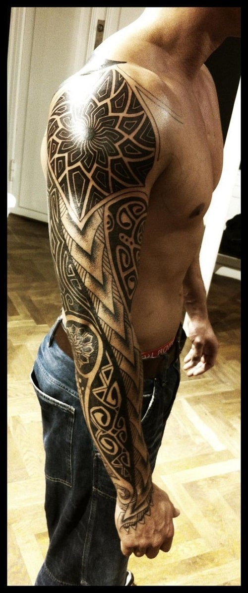 Sun Turtle And Spear Head Polynesian Tattoo