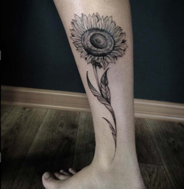 Sunflower Tattoo on Leg by Ivy Saruzi