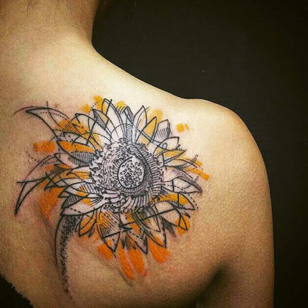 150 Vibrant Sunflower Tattoos And Meanings 2017