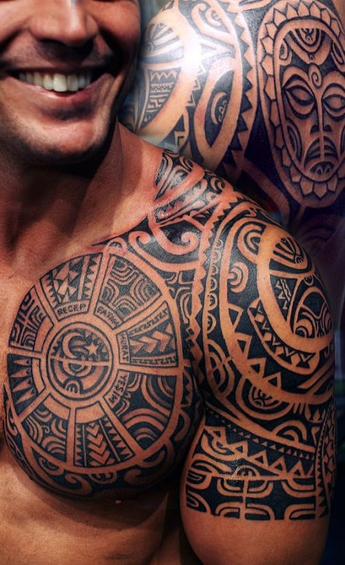 Tiki Shark Teeth Spear Head Polynesian Tattoo For Men