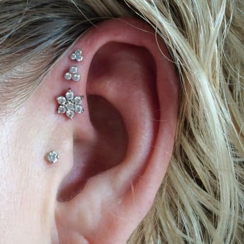 Triple Forward Helix Piercings for Girls