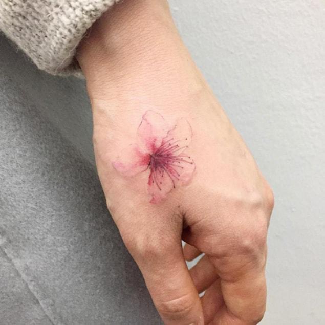 Light Cherry Blossom Tattoo on Hand