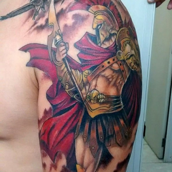 roman warrior tattoo on arm