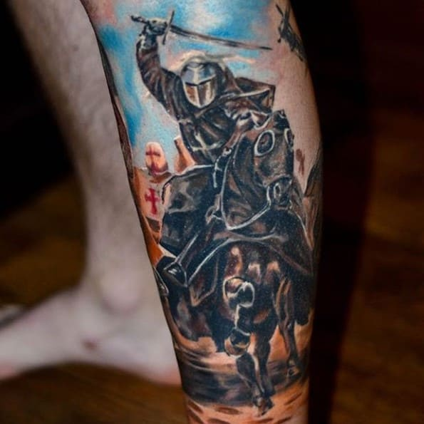 knight on horse tattoo