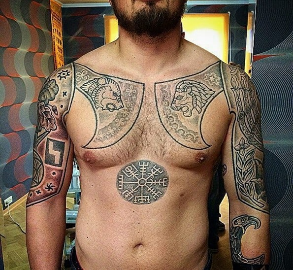 warrior tattoo on chest