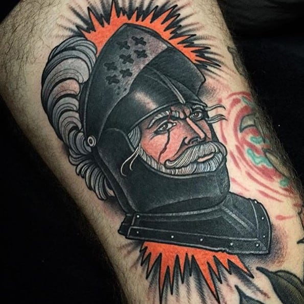colorful warrior tattoo