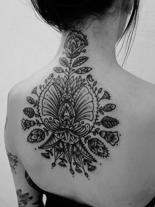 woman has amazing back tattoo