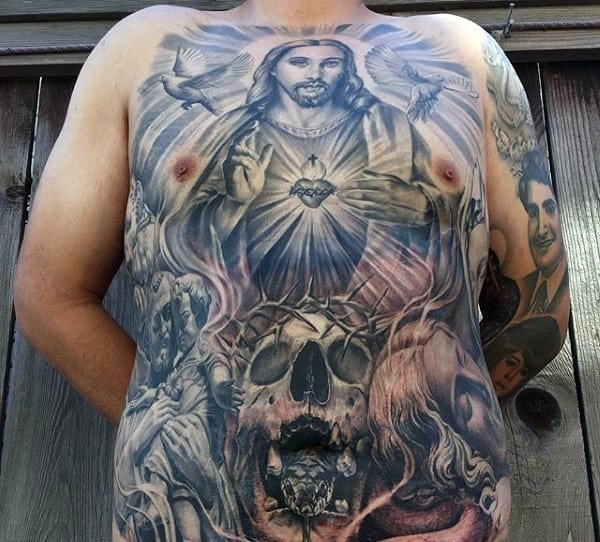 chest-stomach-mens-christian-tattoo-of-jesus-and-skulls