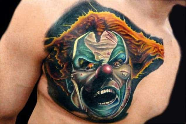 Frightening Clown Tattoo