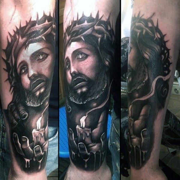 jesus-thorns-and-candle-christian-tattoos-for-men